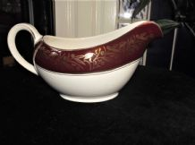 VINTAGE HIGHLY GILDED ALFRED MEAKIN GRAVY SAUCE JUG DEEP MAROON RIM LEAVES SEEDS